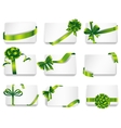 Beautiful cards with green gift bows vector image