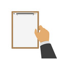 blanck clipboard in hand vector image