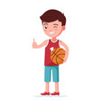 boy basketball player stands with ball vector image vector image