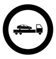 car service icon black color in circle or round vector image vector image