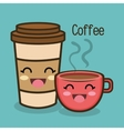 cartoon cup coffee facial expression graphic vector image vector image