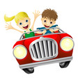 cartoon man and woman in car vector image