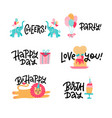 children s greeting stickers set birthday party vector image