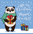 christmas and new year card with standing panda vector image vector image