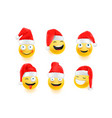 christmas emojis with santa hats isolated on white vector image