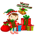 Christmas theme with girl and presents vector image vector image