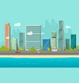 city buildings from sea beach view vector image vector image
