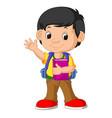cute boy go to school vector image vector image
