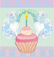 cute retro cupcakes card - Happy Birthday Card vector image