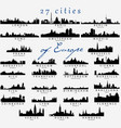 detailed silhouettes of european cities vector image