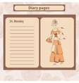 Diary or note pages with of young vector image vector image