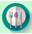 Dishes - Plate knife and fork icon Flat vector image vector image