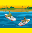 fishers in boats isometric vector image vector image