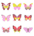 flat icons big collection of colorful butterflies vector image vector image