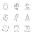 funeral icons set outline style vector image vector image