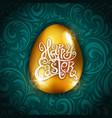 gold foil happy easter greeting golden egg card vector image vector image