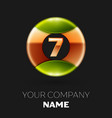 golden number seven logo symbol in the circle vector image vector image