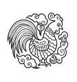 graphic image cock or rooster in round vector image
