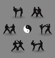 group of men karate demonstrate vector image vector image