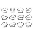 hand drawn set of chef and cook hats vector image vector image