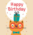 happy birthday card with cat in glasses and gift vector image vector image