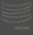 happy birthday greeting card with garlands vector image vector image