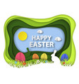 happy easter paper art background vector image vector image