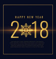 happy new year 2018 text written in golden style vector image vector image