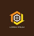 hexagon home arrow logo vector image vector image