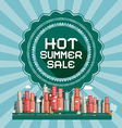Hot Summer Sale Retro Card with City vector image