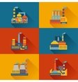 Industrial factory buildings in flat design style vector image vector image