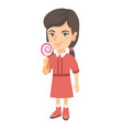 little caucasian girl holding a lollipop candy vector image