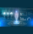 man hologram on futuristic technology background vector image vector image