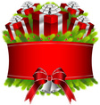 Merry christmas and happy new year red gifts vector image vector image