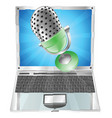 microphone flying out of laptop screen concept vector image