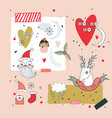 new year design elements set santa claus and vector image vector image