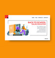online education landing web page distant vector image vector image