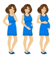 pregnant woman showing pregnancy growing process vector image vector image