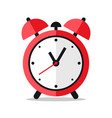 Red alarm clock icon design on white background