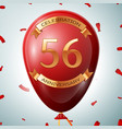 red balloon with golden inscription 56 years vector image vector image