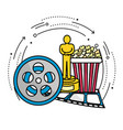 reel scene with prize popcorn and filmstrip vector image vector image