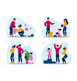 responsible parenthood flat concepts set vector image