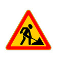 road sign warning road work on white background vector image vector image