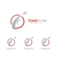 rocket and clock logo combination vector image vector image