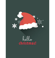 Santa hat on christmas card vector image