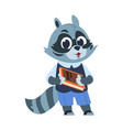 school raccoon character animal kid reading vector image vector image