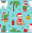 seamless pattern with christmas slothllama and ca vector image vector image