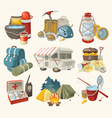 Set of items and devices for hiking vector image