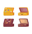 set of retro suitcases front back memory stickers vector image
