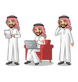 set of saudi arab man working on gadget vector image